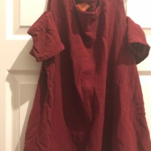 Oh my gauze maroon cold shoulder top 2/large